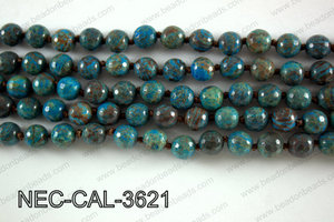 Knotted 8mm Faceted Rainbow Calsilica necklace  NEC-CAL-3621
