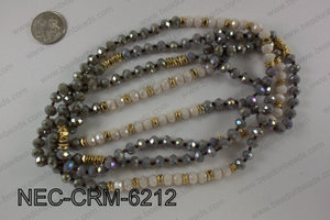 8mm crystal with metal spacer necklace NEC-CRM-6212