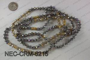 8mm crystal with metal spacer necklace NEC-CRM-6215