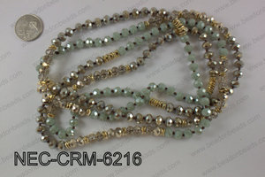 8mm crystal with metal spacer necklace NEC-CRM-6216