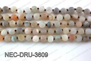Knotted 8mm Matte Druzy Beads necklace  NEC-DRU-3609