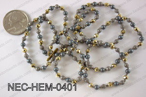 4mm hematite necklace NEC-HEM-0401