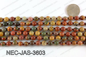 Knotted 8mm jasper necklace NEC-JAS-3603