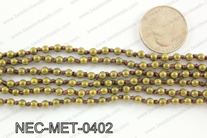 Knotted 4mm metal bead necklace NEC-MET-0402