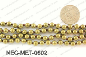 Knotted 6mm metal bead necklace NEC-MET-0602