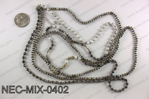 4mm hematite and white howlite double strand necklace NEC-MIX-04