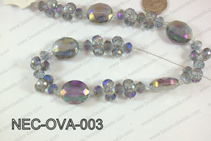 Necklace with oval crystals purple  NEC-OVA-003