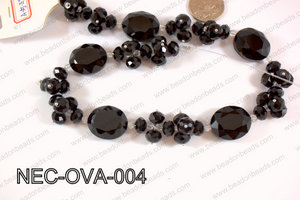 Necklace with oval crystals black  NEC-OVA-004