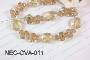 Necklace with oval crystals champagne  NEC-OVA-011