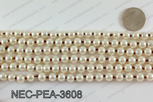 Knotted 8mm glass pearl necklace NEC-PEA-3608