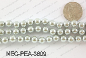 Knotted 8mm glass pearl necklace NEC-PEA-3609