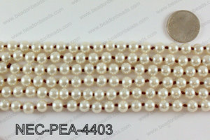 Knotted 8mm glass pearl necklace NEC-PEA-4403