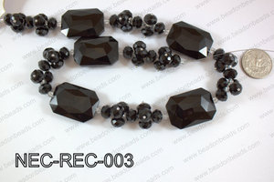 Necklace with rectangle crystals black  NEC-REC-003