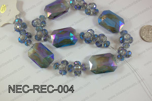 Necklace with rectangle crystals blue NEC-REC-004