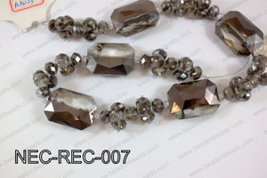 Necklace with rectangle crystals black and clear NEC-REC-007