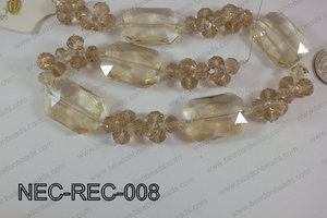 Necklace with rectangle crystals champagne  NEC-REC-008