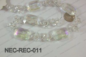 Necklace with rectangle crystals clear ab  NEC-REC-011