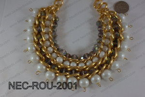 Necklace Round Gold and White 14mmNEC-ROU-2001
