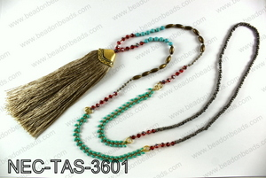 Knotted necklace with tassel  NEC-TAS-3601