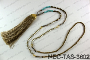 Knotted necklace with tassel  NEC-TAS-3602