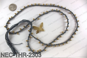 Thread necklace with butterfly charm NEC-THR-2303
