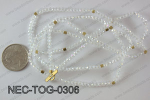 3mm crystal with toggle clasp necklace  NEC-TOG-0306