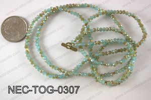 3mm crystal with toggle clasp necklace  NEC-TOG-0307