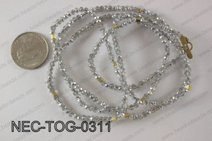 3mm crystal with toggle clasp necklace  NEC-TOG-0311