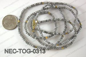 3mm crystal with toggle clasp necklace  NEC-TOG-0313