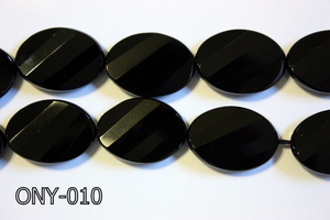 Black Onyx Faceted Twisted Oval ONY-010