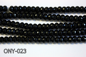 Black Onyx Faceted Rondel 5x8mm ONY-023