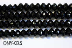 Black Onyx Faceted Rondel 8x12mm ONY-025