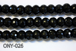 Black Onyx Faceted Rondel 10x14mm ONY-026
