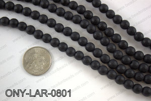 Large hole black onyx round faceted 8mm ONY-LAR-0801