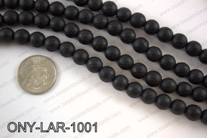 Large hole black onyx round faceted 10mm ONY-LAR-1001