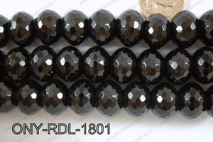 Onyx Rondel  Faceted 18mm ONY-RDL-1801