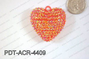Acrylic Rhinestone Heart Pendant 44mm Red AB PDT-ACR-4409