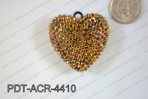 Acrylic Rhinestone Heart Pendant 44mm Brown AB PDT-ACR-4410