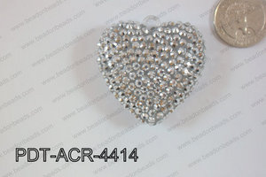 Acrylic Rhinestone Heart Pendant 44mm Silver PDT-ACR-4414