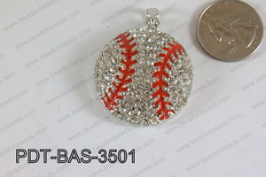 Baseball Pendant with Rhinestone 35mm PDT-BAS-3501
