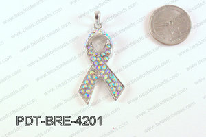 Breast Cancer Pendant with Rhinestone Clear AB 17x42mm PDT-BRE-4