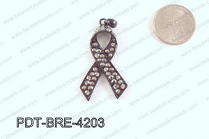 Breast Cancer Pendant with Rhinestone Gun Metal 17x42mm PDT-BRE-