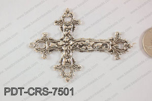 Metal Pendant Cross 75x55mm, silver PDT-CRS-7501