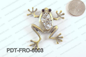 Metal Frog Pendant with Rhinestone Bronze 52x60mm PDT-FRO-6003