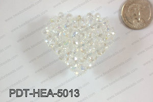 Angelic Crystal Heart Pendant 6mm Rondels 45x50mm Clear Ab PDT-H