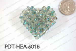 Angelic Crystal Heart Pendant 6mm Rondels 45x50mm Blue tint PDT-