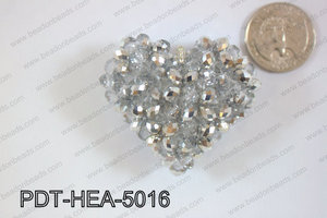 Angelic Crystal Heart Pendant 6mm Rondels 45x50mm Silver and cle