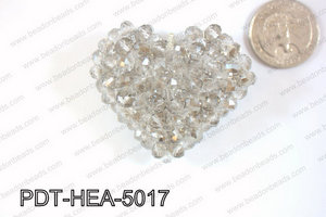 Angelic Crystal Heart Pendant 6mm Rondels 45x50mm Grey PDT-HEA-5