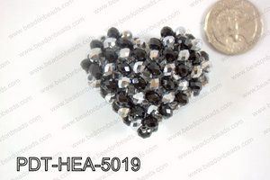Angelic Crystal Heart Pendant 6mm Rondels 45x50mm Black and silv
