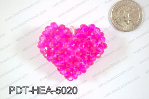 Angelic Crystal Heart Pendant 6mm Rondels 45x50mm Hot Pink PDT-H